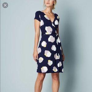 Boden Summer Wrap Dress in Navy Collage Spot